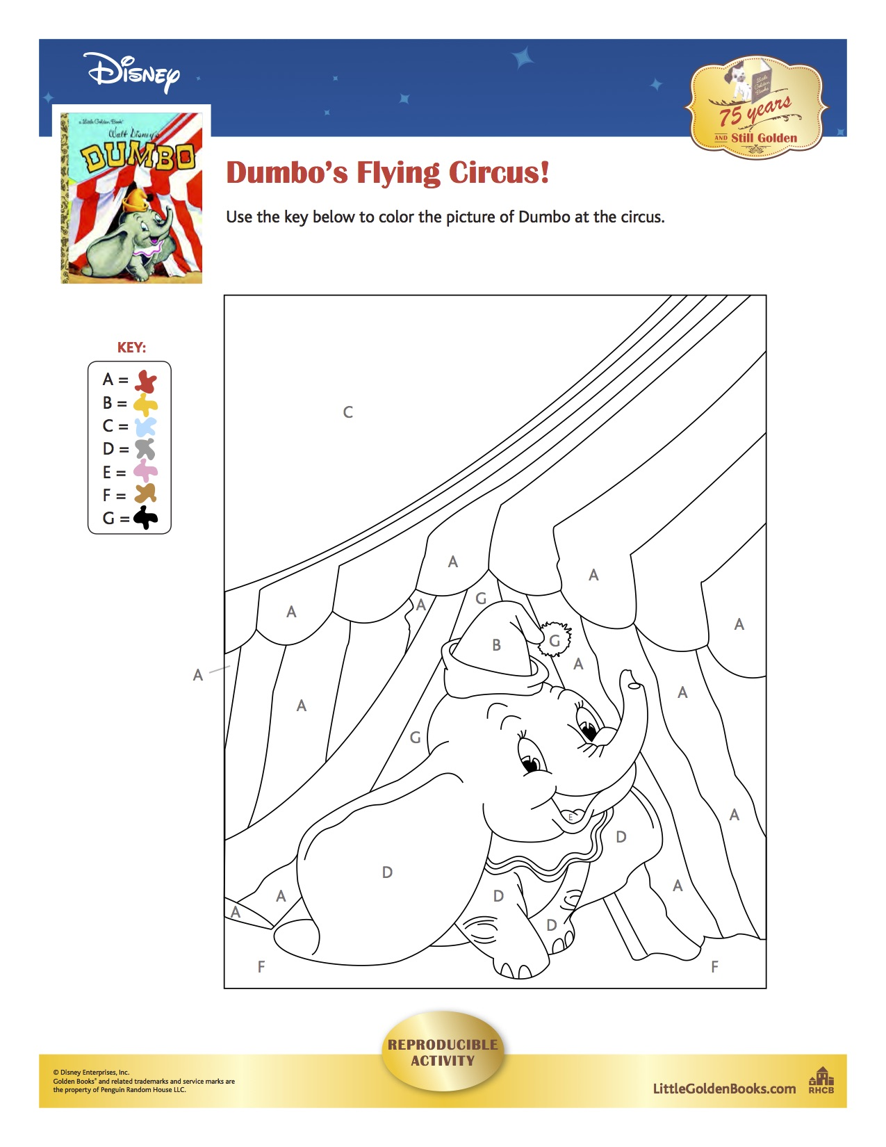 dumbo numbered coloring page